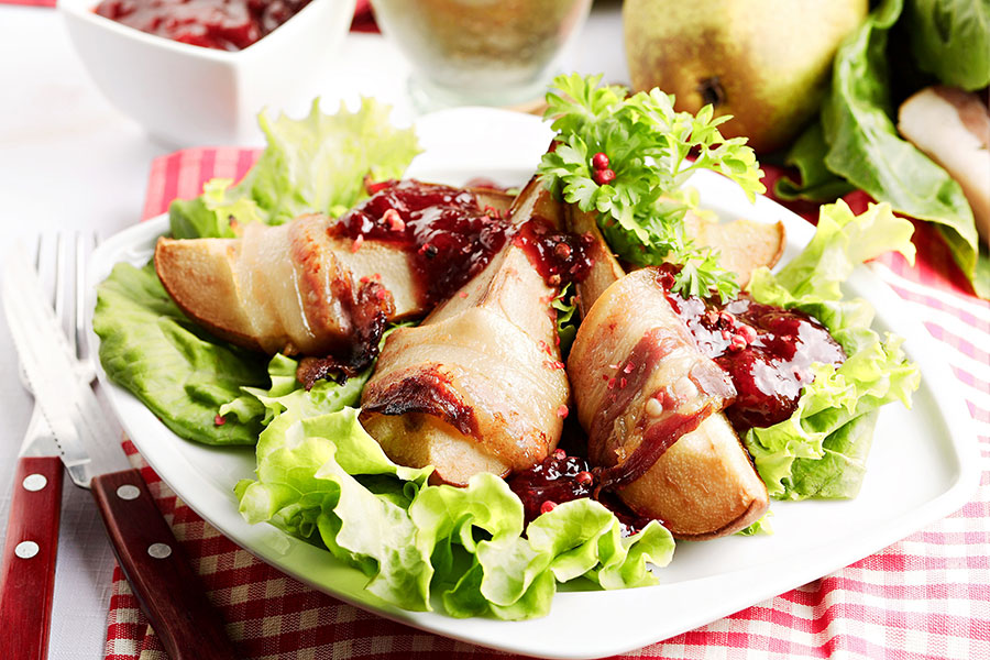 Bacon wrapped pears