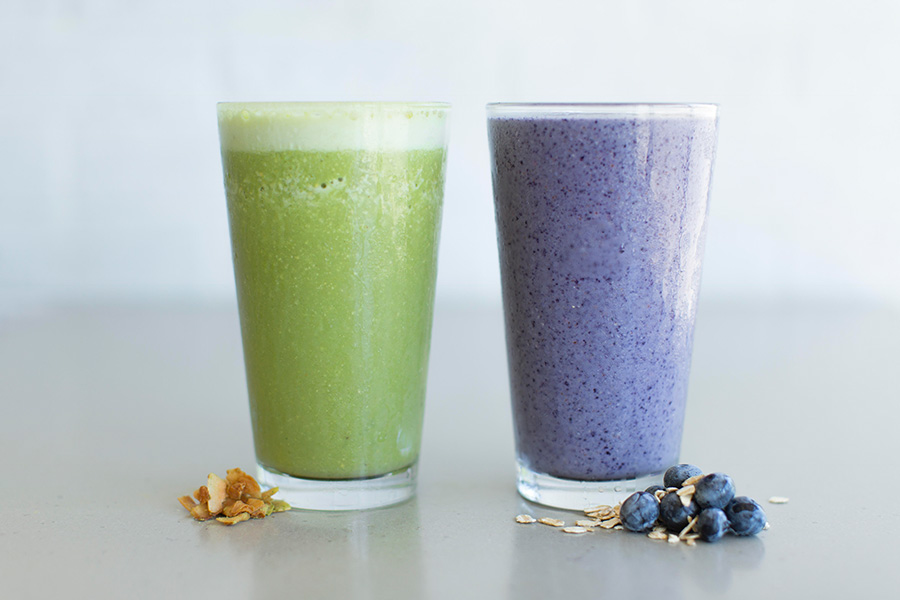 Blueberry Chocolate and Classic Green Smoothie